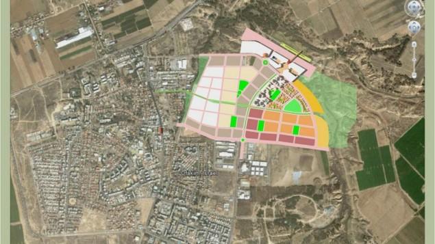 Les plans du quartier Noah, à côté de la ville de Ofakim (Crédit : autorisation)