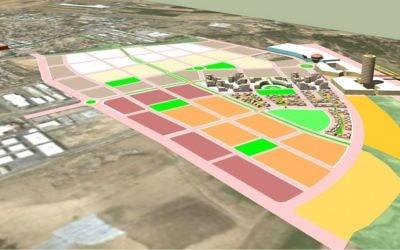 Une tentative de plans pour le quartier Noah, dans la petite ville de Ofakim dans le nord du Néguev (Crédit : autorisation)