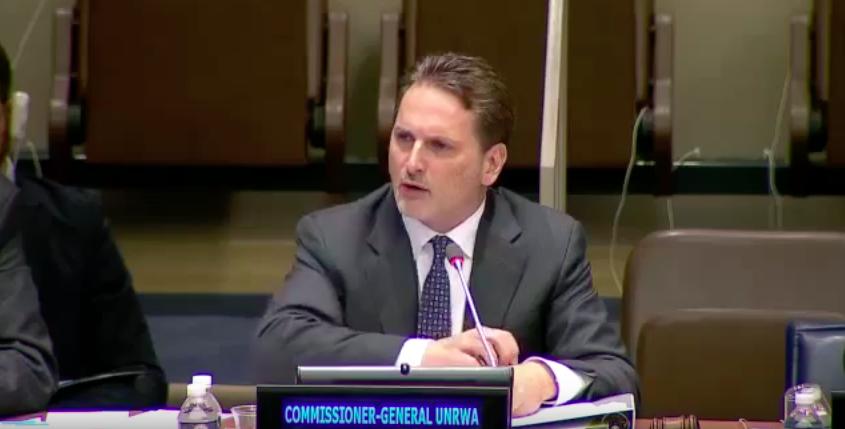 Pierre Krähenbühl aux Nations unies, le 10 novembre 2015. (Crédit : capture d'écran YouTube)
