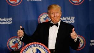 Donald Trump pendant le gala républicain 2016 de l'état de New York, à New York, le 14 avril 2016. (Crédit : Eduardo Munoz Alvarez/Getty Images via JTA)