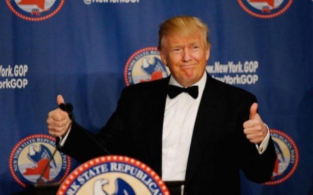Donald Trump pendant le gala républicain 2016 de l'Etat de New York, à New York, le 14 avril 2016. (Crédit : Eduardo Munoz Alvarez/Getty Images via JTA)
