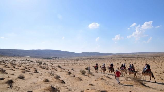 Une vue d'un paysage du désert du Néguev (Crédit : Shay Levy/ Flash90)