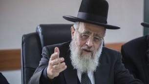 Le grand rabbin séfarade Yitzhak Yosef (Crédit : Yonatan Sindel/Flash90)