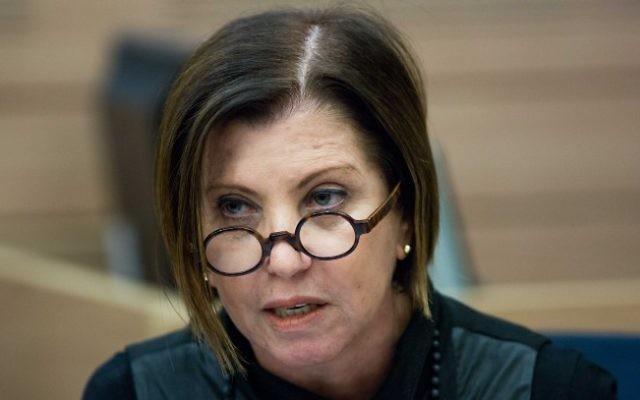 La leader du Meretz, Zehava Galon (Crédit : Yonatan Sindel/Flash90)