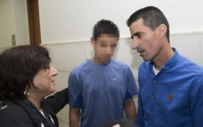 Ahmed Manasra, 14 ans, au tribunal de Jérusalem, le 10 mai 2016. (Crédit : Yonatan Sindel/Flash90)