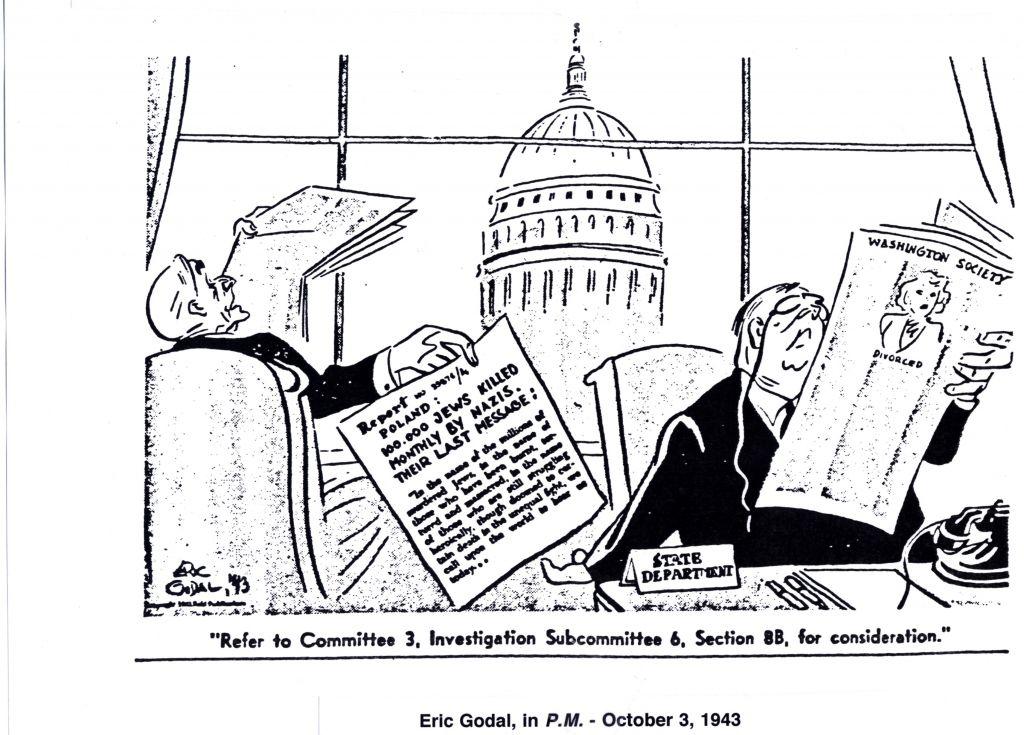 Après le renvoi de sa mère vers l'Allemagne et son assassinat ultérieur par les nazis, Godal a dessiné cette critique acerbe de l'administration de Roosevelt (Crédit : Reproduit avec la permission de «Cartoonists Against the Holocaust»)