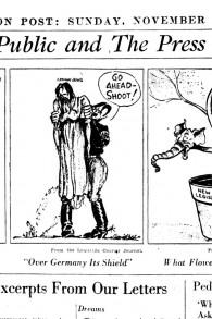 Le Louisville Courier Journal dépeint Hitler tenant les Juifs d'Allemagne en otage suite à la Nuit de Cristal (Crédit : réimprimé avec la permission de «Cartoonists Against the Holocaust»)