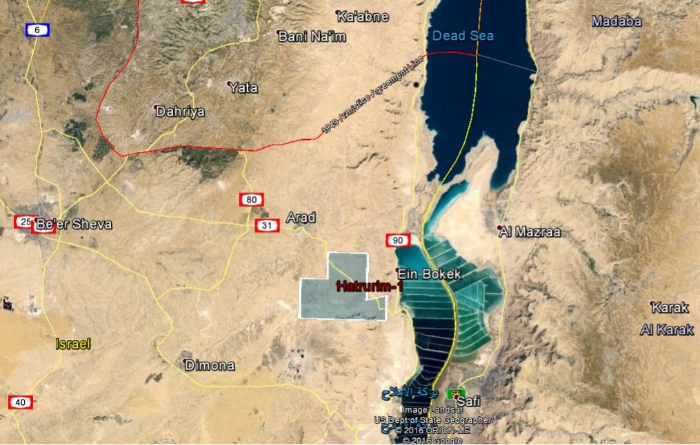 Carte publiée par Israel Opportunity le 8 mai 2016, qui prétend montrer que la licence de forage du site de Hatrurim est entièrement située en territoire israélien (Crédit : autorisation Israel Opportunity)