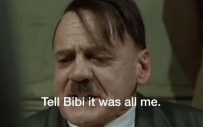 """""""La Chute"""", un film allemand dans lequel l'acteur Bruno Ganz joue Hitler, fait l'objet de dizaines de parodies sur internet, dans lesquelles les producteurs insèrent de faux sous-titres pour aborder un sujet sans relations (Crédit : capture d'écran YouTube via JTA)"""