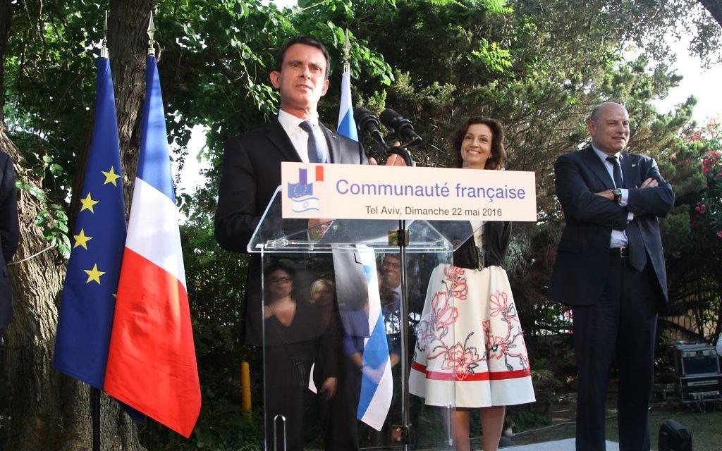 Manuel Valls, le 22 mai à Tel Aviv (Crédit : Marine Crouzet/ Ambassade de France en Israël)