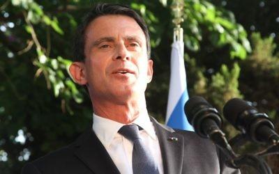 Manuel Valls, le 22 mai à Tel Aviv (Crédit : Marine Crouzet/ Ambassade de France en Israel)
