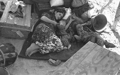 Des Juifs déplacés irakiens, en 1951 (Crédit : Wikipedia)