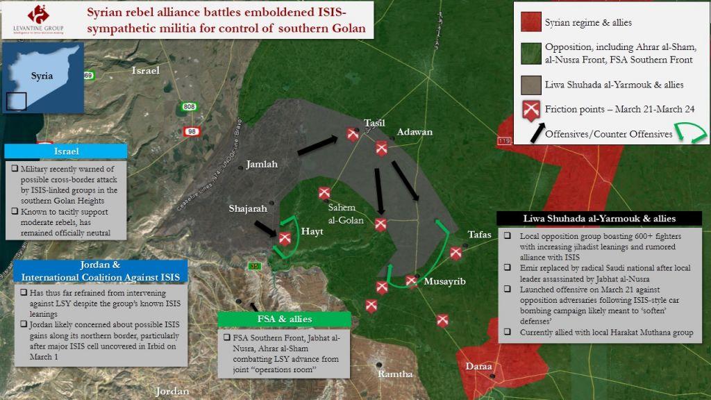 Une carte illustrant les victoires réalisées par la Brigade des Martyrs de Yarmouk lors de l'offensive en mars-avril 2016 (Crédit : Autorisation Levantine Group)