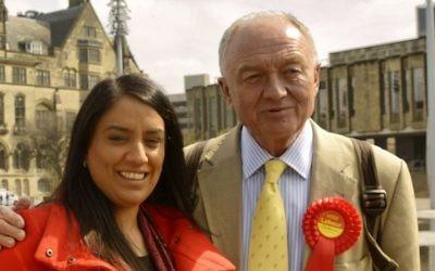 L'ancien maire de Londres, Ken Livingtsone, et Naz Shah à Bradford, en avril 2015, avant son élection en tant que députée du Parti travailliste. (Crédit : Wikimedia Commons, goodadvice.com, CC BY-SA 4.0)