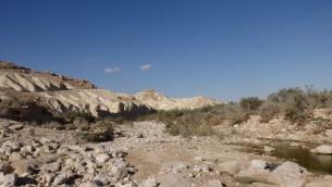 Le Nahal Zin (lit de rivière asséché), un sentier de randonnée très populaire dans le Néguev, le 27 mai 2016. (Crédits : Héloïse Fayet / Times of Israel)