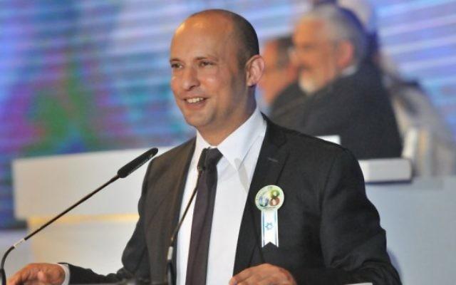 Le ministre de l'Education Naftali Bennett pour le 68e YomHaAtsmaout, le 12 mai 2016. (Crédit : Shlomi Amsalem/GPO)