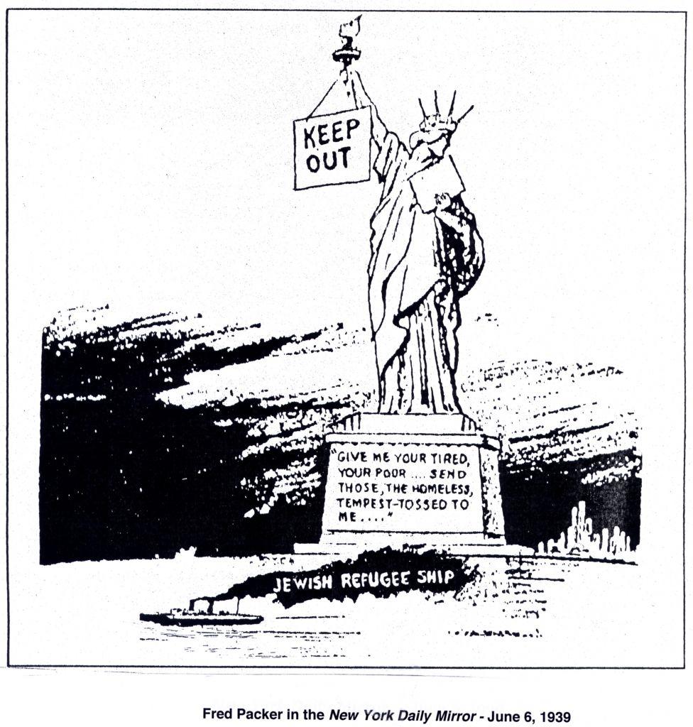"""Une caricature fustigeant le retour en arrière du """"MS St. Louis"""", dont de nombreux passagers réfugiés ont péri lors de leur retour en Europe (Crédit : réimprimé avec la permission de 'Cartoonists Against the Holocaust')"""