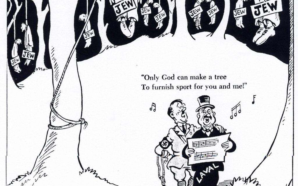 Cette caricature du Dr. Seuss du 20 juillet 1942 prévenait les Américains de la situation désespérée des juifs de France (Crédit : Réimprimé avec la permission de Cartoonists Against the Holocaust')