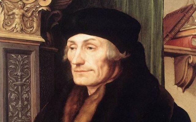 Le pionnier de la théologie humaniste catholique, Desiderius Erasmus en 1523 peint par Hans Holbein le Jeune (Crédit : Wikimedia commons)