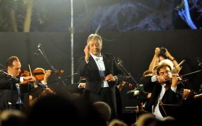 Zubin Mehta et l'Orchestre philharmonique d'Israël (Crédit : Yossi Zelgier/FLASh90)