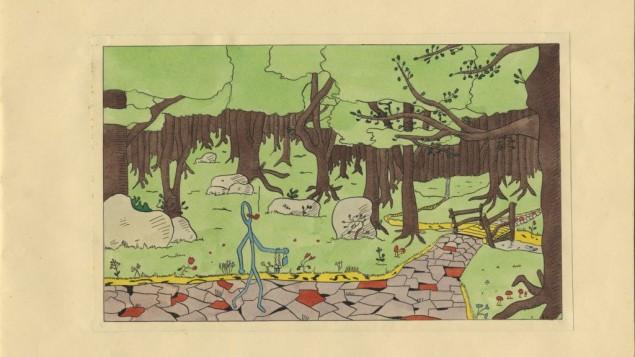 Une copie d'une page du roman graphique de E. Joels's 'Dompie Stompie à Rooverije' (Crédit : autorisation de Jet Naftaniel/via JTA)