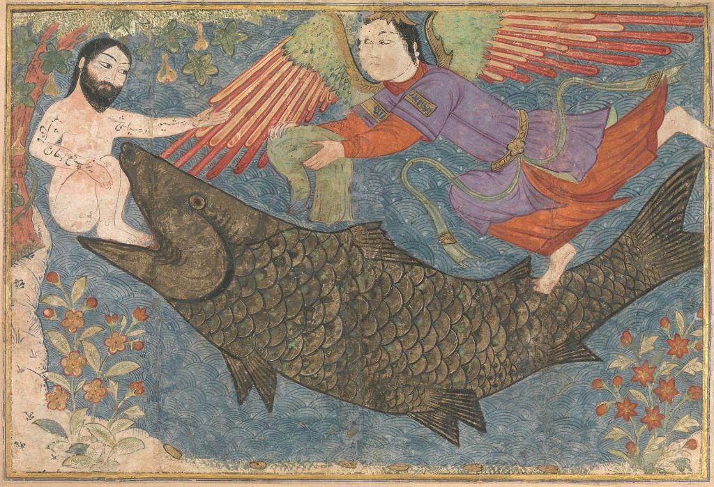 Jonas et la baleine dans le Jami 'al-Tawarikh (environ 1400), Metropolitan Museum of Art (Crédit : Wikipedia)