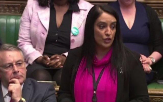 Naz Shah prend la parole à la Chambre des communes, le 27 avril 2016 (Crédit : capture d'écran du Guardian)