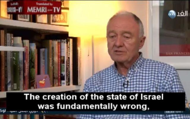 Ken Livingstone dénonce Israël pendant un entretien, le 4 mai 2016. (Crédit : capture d'écran MEMRI)
