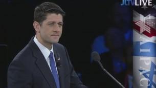 Paul Ryan, président républicain de la Chambre des représentants des Etats-Unis, prend la parole lors d'une conférence de l'AIPAC à Washington, le 21 mars 2016. (Crédit photo : capture d'écran AIPAC/JLTV)