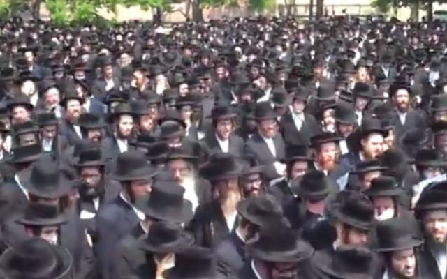 Des juifs hassidiques du mouvement Satmar, aux Etats-Unis. (Crédit : capture d'écran YouTube)