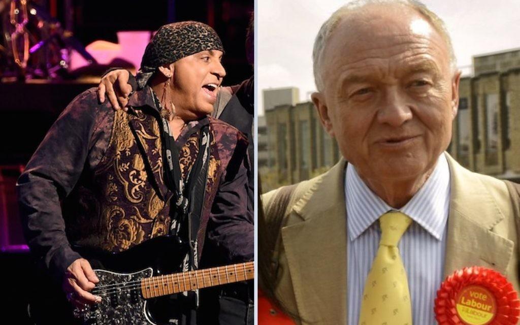 Montage photo du musicien Stevie Van Zandt et de l'ancien maire de Londres, Ken Livingstone (Crédit : Kevin Winter/Getty Images via JTA/Wikimedia Commons, goodadvice.com, CC BY-SA 4.0)