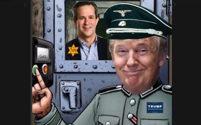 Un tweet envoyé à Jonathan Weisman, qui represente le journaliste comme un prisonnier d'un camp de concentration alors que Donald Trump est son gardien nazi. (Crédit : Twitter via JTA)