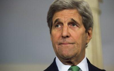 Le Secrétaire d'Etat américain John Kerry, fait une déclaration sur la Syrie au département d'Eta,t à Washington, D.C., le 15 mars 2016. (Crédit : Jim Watson/AFP)