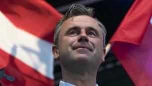 Le candidat à la présidentielle du Parti Liberté autrichien (FPO) d'extrême-droite, Norbert Hofer, le 20 mai 2016. (Crédit : Joe Klamar/AFP)