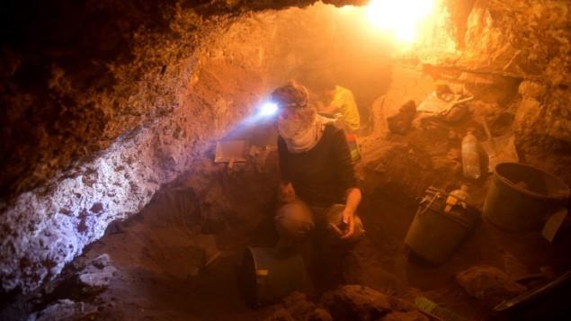 Bénévoles israéliens et étrangers prennent part aux fouilles d'une grotte du Canyon Tzeelim, au-dessus de la mer Morte, dans le désert de Judée, le 1er juin 2016. (Crédit : AFP PHOTO/MENAHEM KAHANA)