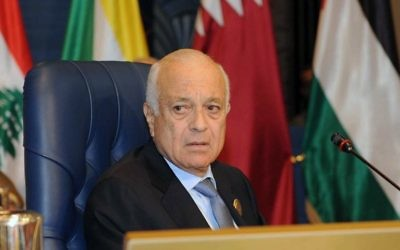 Le secrétaire général de la Ligue arabe, Nabil Elaraby le 25 mars 2014 (Crédit : AFP/Yasser al-Zayyat)