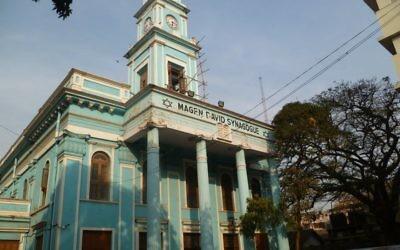La synagogye Magen David dans le centre de Bombay, en février 2014 (Crédit : Joshua Davidovich/Times of Israel)