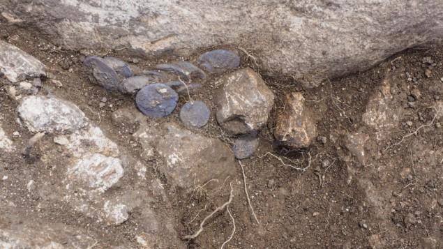 Les pièces d'argent retrouvées sur un domaine agricole à Modiin. Photographie publiée le 7 juin 2016. (Crédit : Assaf Peretz/Autorité israélienne des Antiquités)