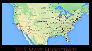 Localisation des fusillades de masse qui ont eu lieu en 2015 aux Etats-Unis (Source:  Site web de l'ONG Archive Gun Violence )