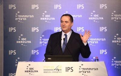 Yisrael Katz, ministre des Renseignements et des Transports, pendant la Conférence d'Herzliya, le16 juin 2016. (Crédit : Adi Cohen Zedek)