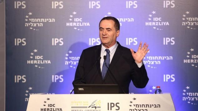 Le ministre des Renseignements Yisrael Katz lors de la Conférence d'Herzliya jeudi 16 juin 2016 (Crédit : Adi Cohen Zedek)
