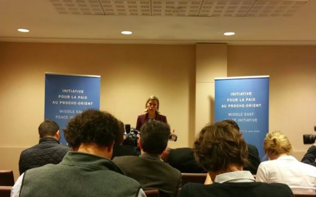 Federica Mogherini à Paris, le 3 juin 2016 (Crédit : Suha Halifa/Times of Israel)