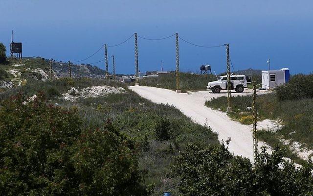 La frontière entre Israël et le Liban, vue depuis la Galilée occidentale, en Israël, le 25 avril 2015. (Crédit : Nati Shohat/Flash90)