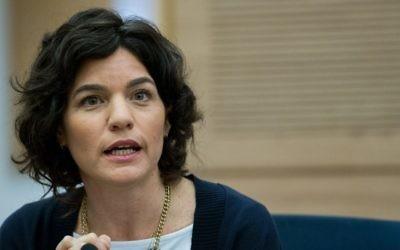Tamar Zandberg, députée du Meretz, à la Knesset, le 24 février 2016. (Crédit :Yonatan Sindel/Flash90)