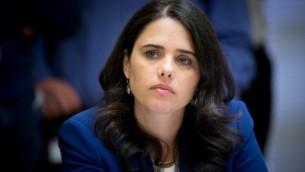 La ministre de la Justice Ayelet Shaked. (Crédit : Yonatan Sindel/Flash90)