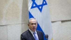 Benjamin Netanyahu à la Knesset, le 1er juin 2016. (Crédit : Yonatan Sindel/Flash90)
