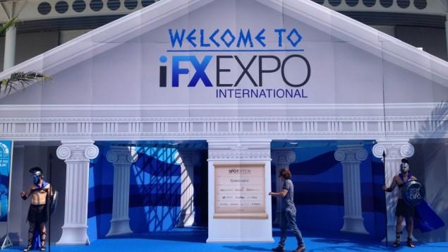 L'entrée de la conférence IFX Expo au Palais des Sports de Limassol, à Chypre, en mai 2016. (Crédit : Hunter Stuart)