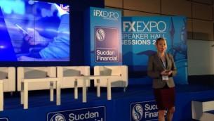 Liset van Oosterhout, de Twitter, pendant la conférence IFX Expo à Chypre, en mai 2016. (Crédit : Hunter Stuart)