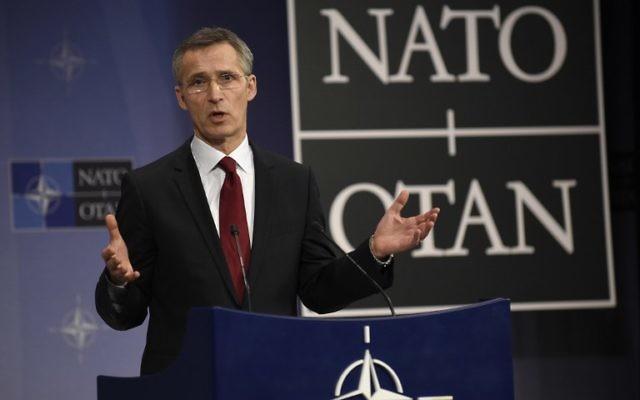 Le secrétaire général de l'OTAN, Jens Stotlenberg, lors d'une conférence de presse au quartier général de l'OTAN à Bruxelles, le 5 février 2015. (Crédits : AFP  / John Thys)