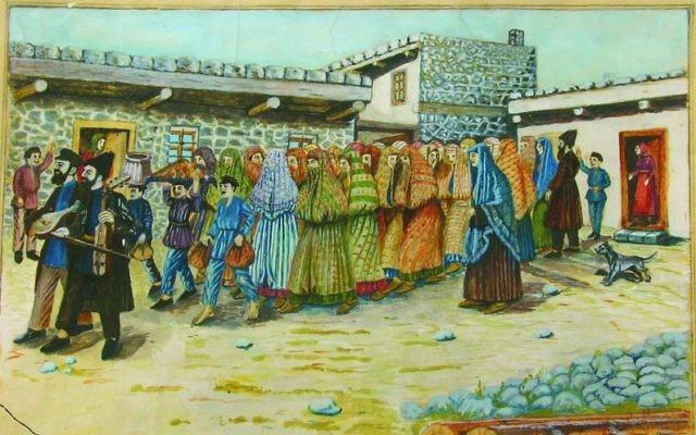 """Une aquarelle de Shalom Koboshvili, intitulée """"La mariée est guidée jusqu'au mikveh"""". (Crédits : Wiki Commons / Domaine public)"""